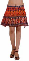 Block Print Short Wrap Skirt
