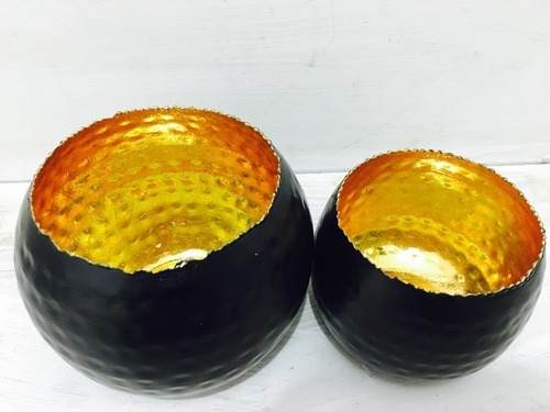 Black and Gold Metal Bowls (set of 2 pcs)