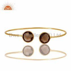 Silver Gold Plated Gemstone Cuff Bangle