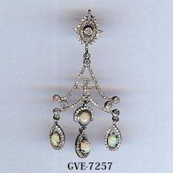Chandelier Opal Stone Diamond Designer Earring
