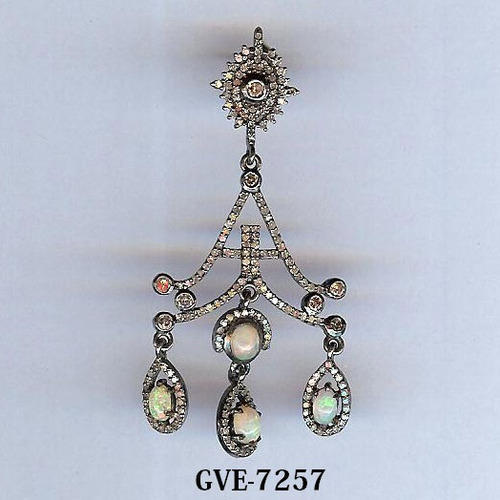Designer Diamond Earring Chandelier Opal Stone Diamond Designer