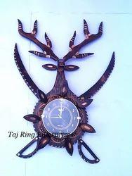 Deer Head Sword Wall Clock