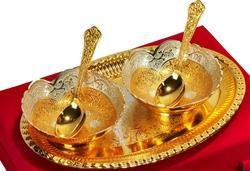 VESPL Elegant Gold And Silver Plated Bowls Set Of 5 Pcs For