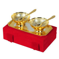 Return Gifts Brass Bowl Sets Gold And Silver Plate