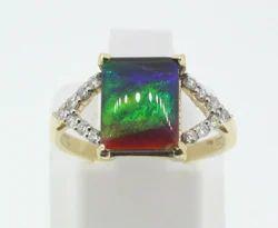 Ammolite and Diamond Gold Ring