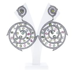Diamond Gemstone Filigree Earrings