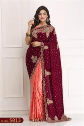 Sandle and Net Hand Woven Saree