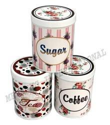 Coffee, Tea, Sugar Storage Tin Box