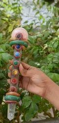 Tibetian Healing Wand-t1, Rose Quartz, Rose Jasper Faceted W