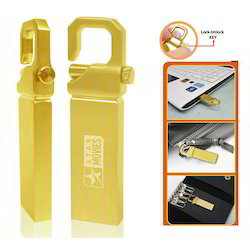 Gold Finished Pen Drive with Keylock