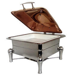 Grand Square Hydraulic Rose Gold Chafer w Ceramic Pans