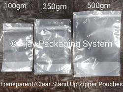Transparent Zipper Stand Up Pouch - 250gm