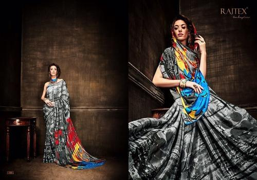 Designer Black Printed Saree