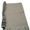 Merino Wool With 1 Side Silver Fox And Border Scarves