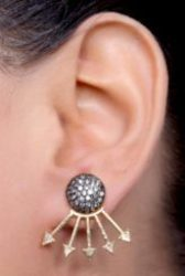 Golden Earring With White And Black Stone