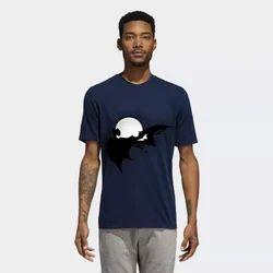 Cotton Blue Printed T Shirt, Size: S to XXXXL