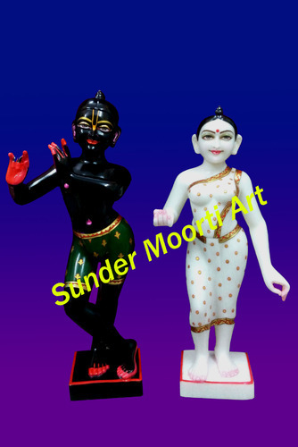 Golden (Gold Plated) And Multicolor Black Krishna White Radha Statue