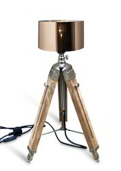 Royal Nautical Mini Teak Wooden Tripod Floor Lamp Shade