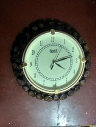 Brown Analog Round Wooden Wall Clock, For Home