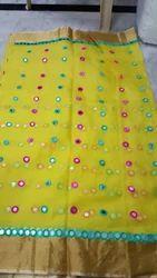 Kota Silk With Mirror Work Saree