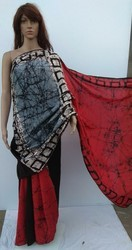 Hand Block Printed Cotton Batik Saree