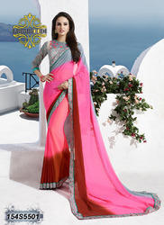 pink and grey georgette saree