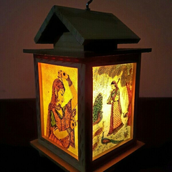 Wooden Gemstone Painted Night Lamp