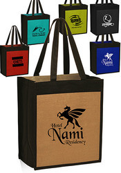Jute Color Contrast Shopping Bags