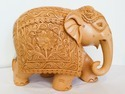 Wooden Flower Carven Work Elephant