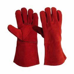 Leather(Buff/Split/Chrome) Welding Glove Red