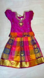 Silk cotto Age 1-10 Kids Pattu Pavadai