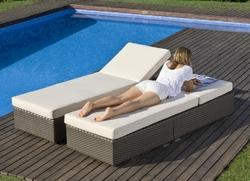 Cane Lounger with Mattress