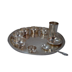 Bhatia Sons brass Silver Plated Round Thali Set