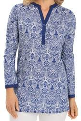 Printed Cotton Top With Solid Neck Collar