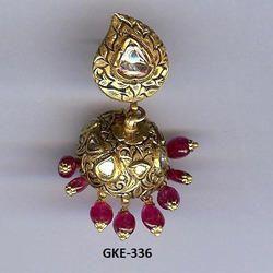 Polki Diamond Kundan Meena 18Kt Gold Jhumka Earring