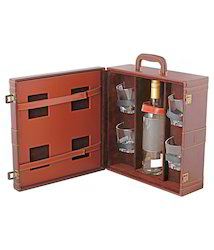 A & E Whisky Case, Bar Set, Wine Case With 4 Glasses & Tray