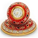 Marble Table Clock Round Plate MB049
