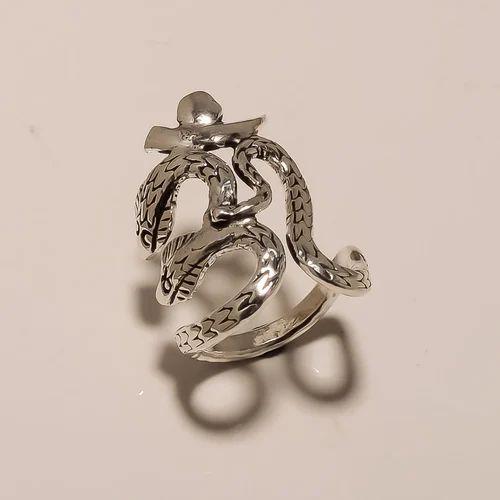 Sterling Silver R0035 925 Stamp Solid Plain Om Designer Ring