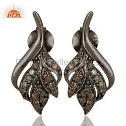 Black Leaf Diamond Earring Jewelry