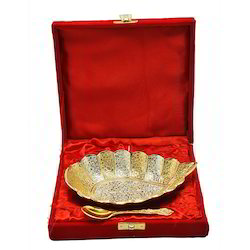 Silver Gold Plated Tray With Spoon