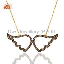 Angle wings Pave Diamond Womens Necklace