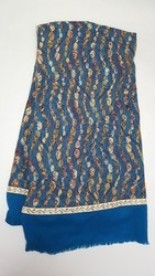 Party Wear Blue Ladies Net Print Patch Wool Stole, Packaging Type: Poly Bag