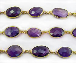 Amethyst Gemstone Bezel Set Chain