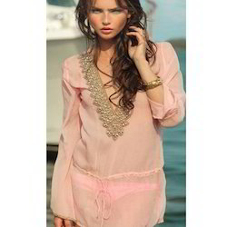 Embroidered Plain Beach Kaftan