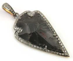 Black Agate CZ Set Arrowhead Pendant