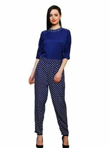 Printed Small And Medium Women' S Blue And White Crepe Jumpsuit