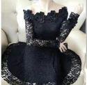 Ladies Floral Lace Black Dress