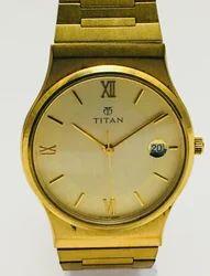 TITAN Golden gold case quartz watch