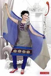 Designer Chanderi Churidar Suits