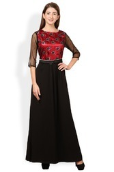 Black and Red Women Gown